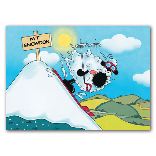 Wales Sheep Skiing Down Snowdon - Sold in pack (100 postcards)