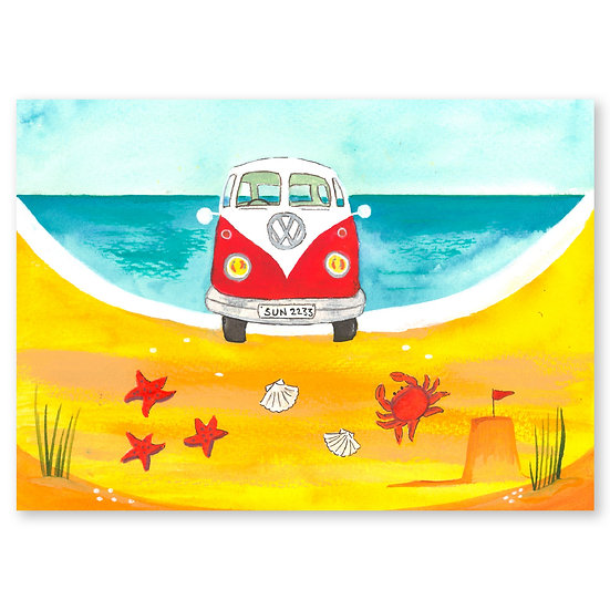 Lazy Days by A. Paget : Campervan - Sold in pack (100 postcards)