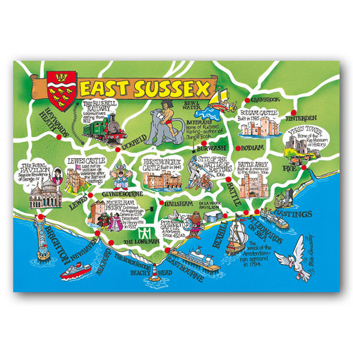 East Sussex Map Card - Sold in pack (100 postcards)