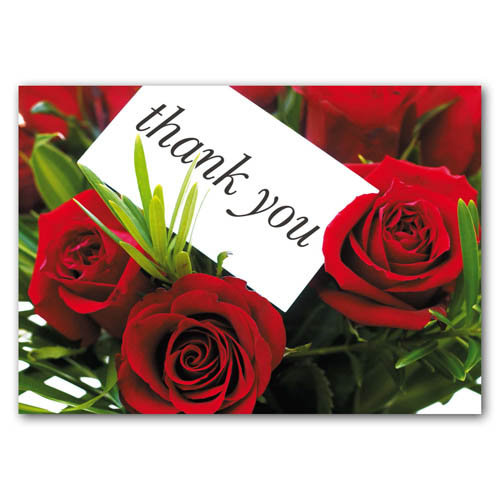 Thank You - Roses - Sold in pack (100 postcards)