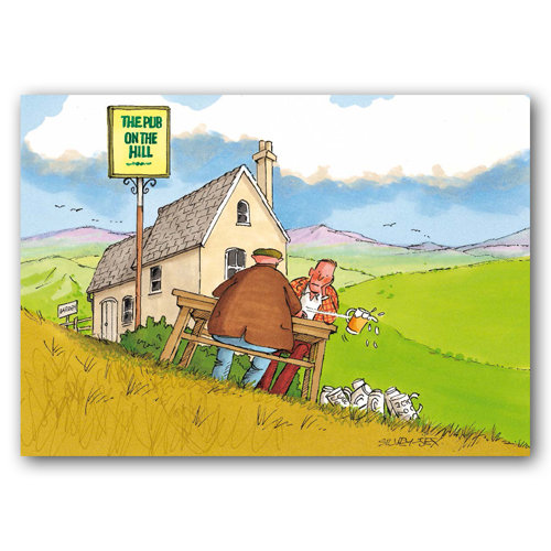 Yorkshire Humour Pub On Hill - Sold in pack (100 postcards)