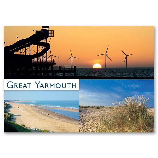 Great Yarmouth, 3 view composite - Sold in pack (100 postcards)