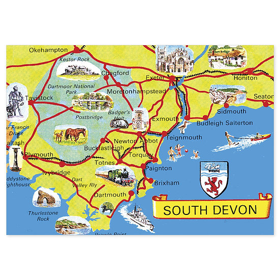 South Devon Map - Sold in pack (100 postcards)