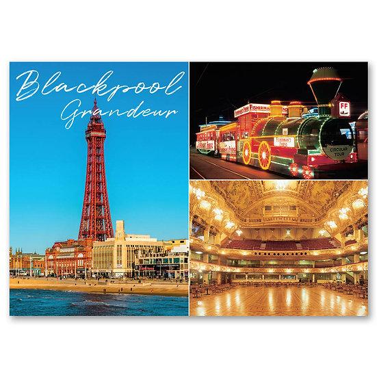 Blackpool Grandeur, 3 view composite - Sold in pack (100 postcards)