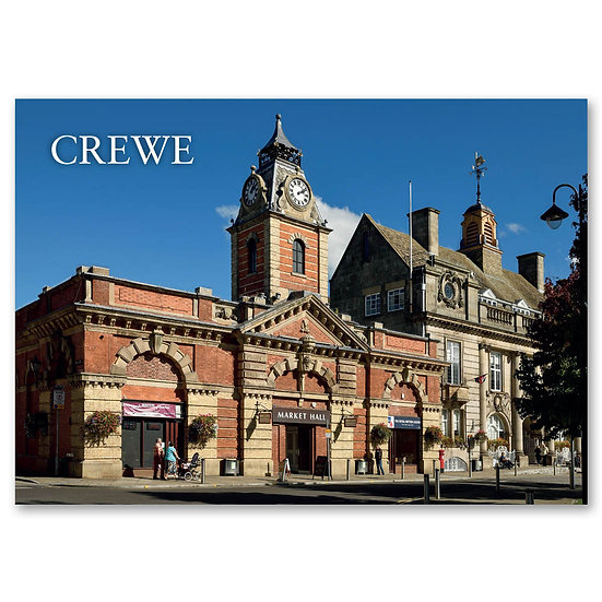 Crewe, The Market Hall building on Earle Street - Sold in pack (100 postcards)