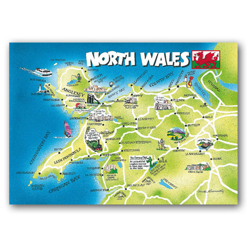 Wales North Map Card - Sold in pack (100 postcards)