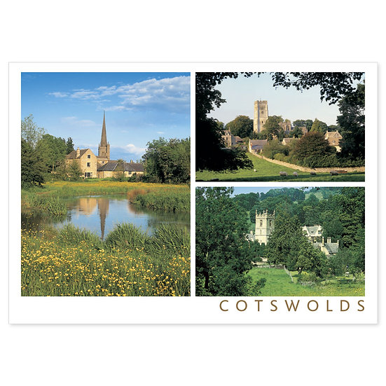 Cotswolds Churches 3 View Comp - Sold in pack (100 postcards)