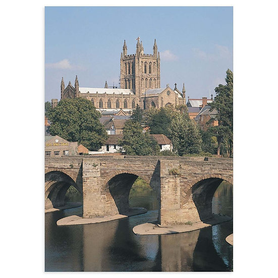 Hereford Cathedral and River Wye - Sold in pack (100 postcards)