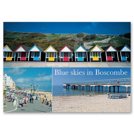 Boscombe, Blue skies, 3 view composite - Sold in pack (100 postcards)