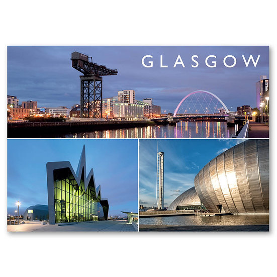Glasgow, 3 view composite - Sold in pack (100 postcards)
