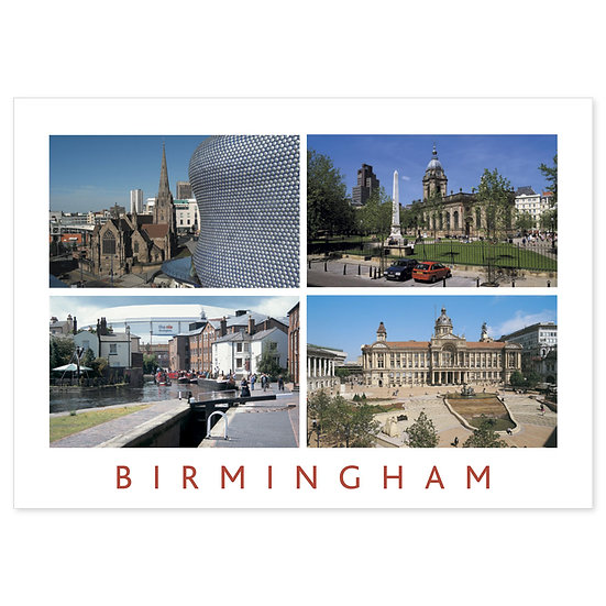 Birmingham 4 View Comp - Sold in pack (100 postcards)