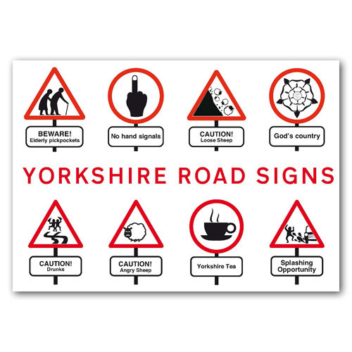 Yorkshire Road Signs - Sold in pack (100 postcards)
