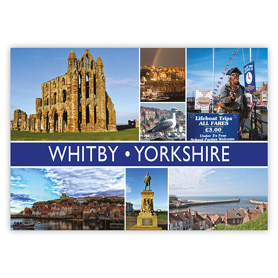 Whitby Yorkshire 7 View Comp - Sold in pack (100 postcards)