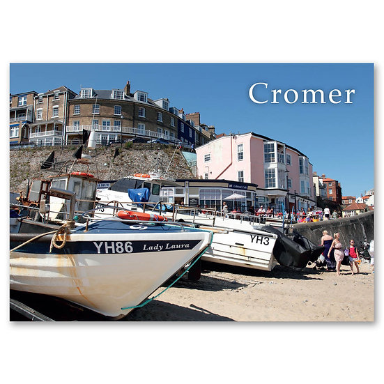 Cromer, Fishing boats on the beach - Sold in pack (100 postcards)