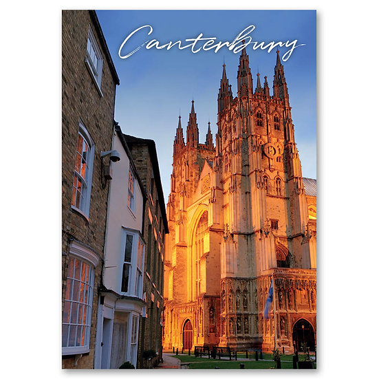 Canterbury Cathedral floodlit at dusk - Sold in pack (100 postcards)