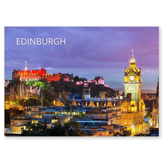 Edinburgh, Night skyline - Sold in pack (100 postcards)