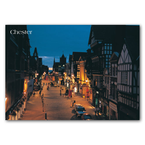 Chester Eastgate Street At Night - Sold in pack (100 postcards)