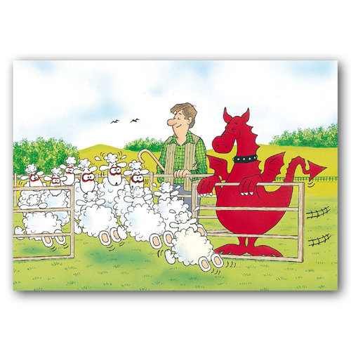 Wales Sheep Sheep Dragon - Sold in pack (100 postcards)