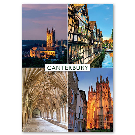 Canterbury, 4 view composite - Sold in pack (100 postcards)