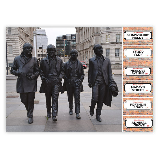 Liverpool The Beatles Statue and Signs - Sold in pack (100 postcards)