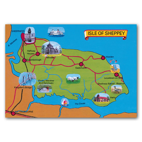 Isle of Sheppey Map Card - Sold in pack (100 postcards)