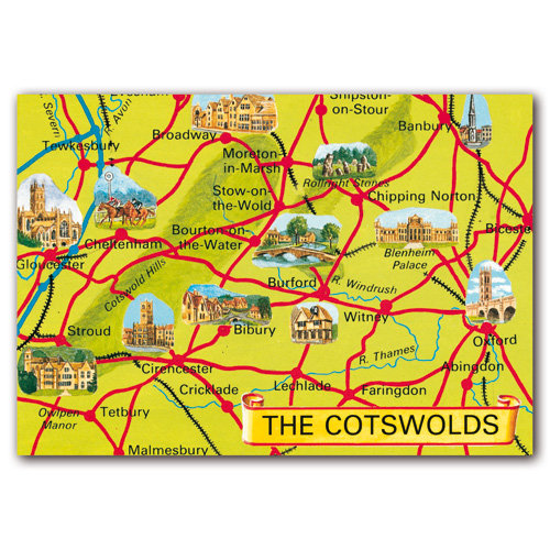 Cotswolds Map - Sold in pack (100 postcards)