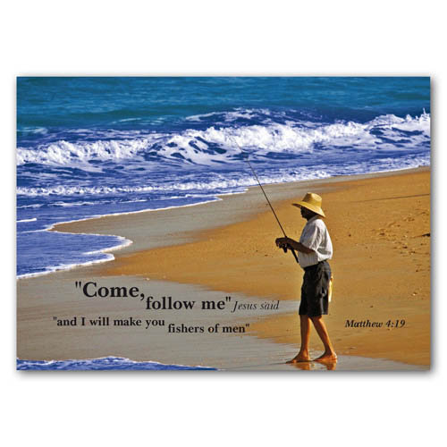 Bible Verse Come Follow Me - Sold in pack (100 postcards)