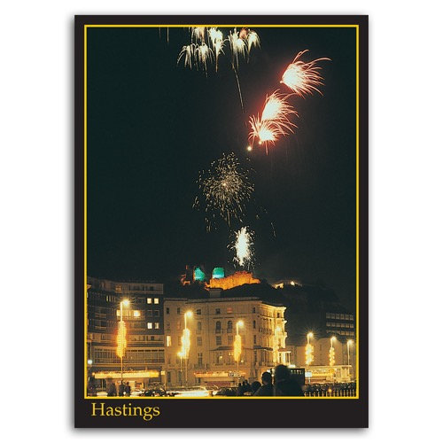 Hastings Fireworks Over Castle - Sold in pack (100 postcards)