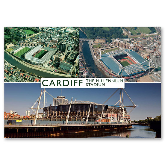 Cardiff, Stadium 3 view Composite - Sold in pack (100 postcards)