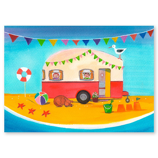 Lazy Days by A. Paget : Caravan Fun - Sold in pack (100 postcards)