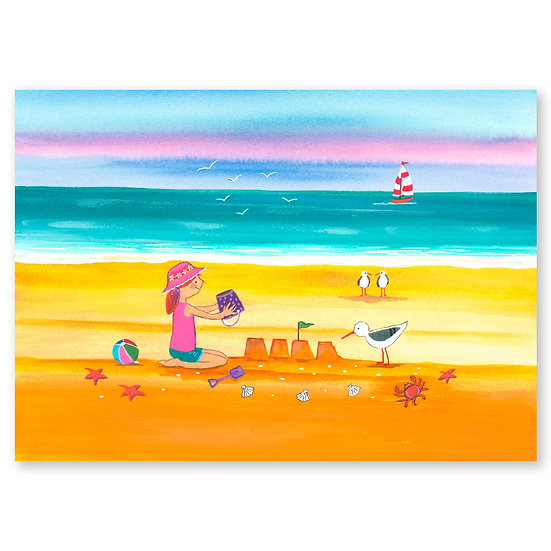 Lazy Days by A. Paget : Sandcastles - Sold in pack (100 postcards)