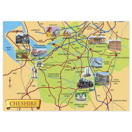 Cheshire Map - Sold in pack (100 postcards)