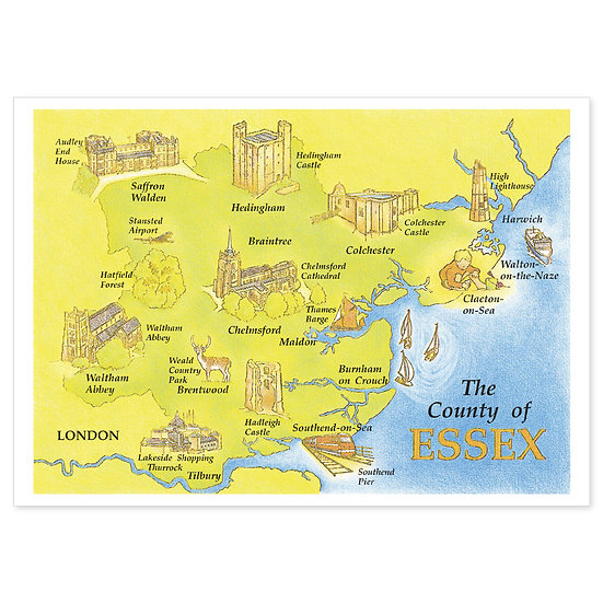 Essex Map - Sold in pack (100 postcards)