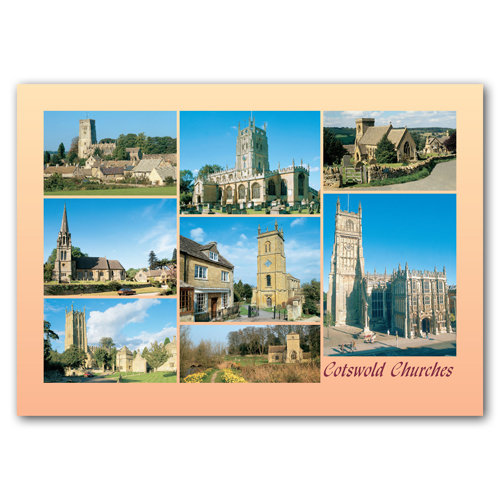 Cotswolds Churches 8 View Comp - Sold in pack (100 postcards)