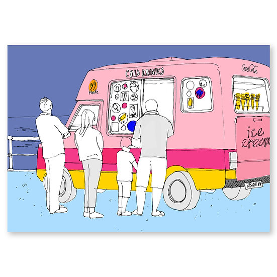 Life's a Beach by Lucy Sheeran : Ice Cream Van - Sold in pack (100 postcards)