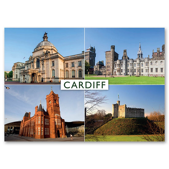 Cardiff, 4 view Composite - Sold in pack (100 postcards)