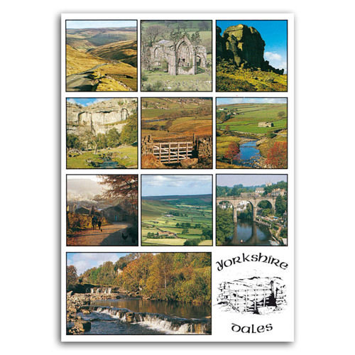 Yorkshire Dales Multi View Comp - Sold in pack (100 postcards)