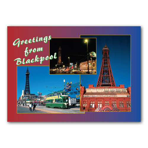 Blackpool Greetings From - Sold in pack (100 postcards)