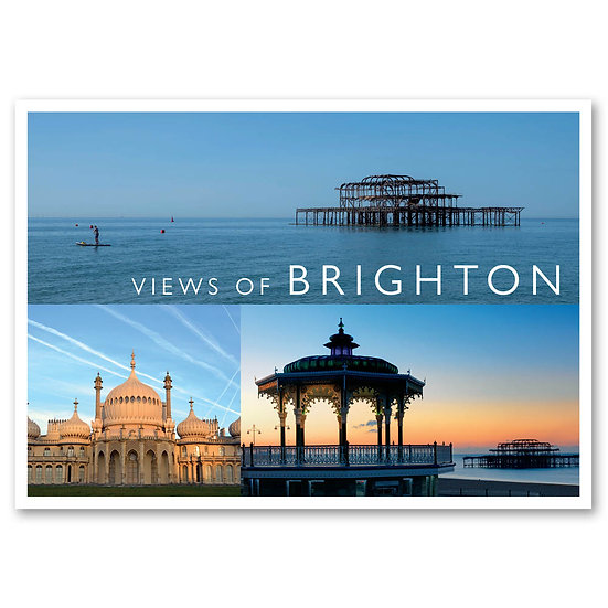 Brighton, views of 3 view composite - Sold in pack (100 postcards)