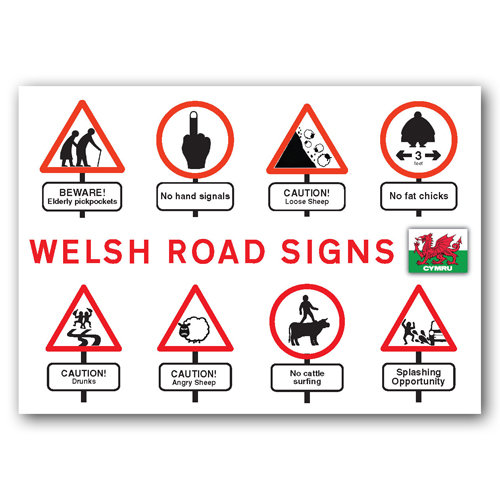 Wales Road Signs - Sold in pack (100 postcards)