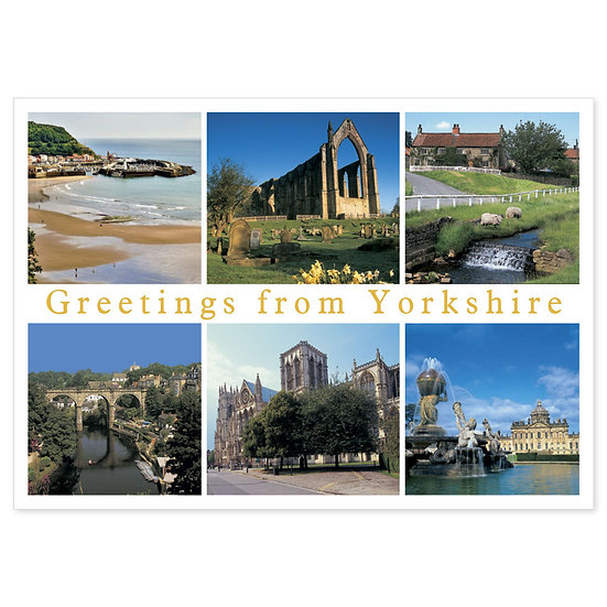 Yorkshire Greetings From - Sold in pack (100 postcards)