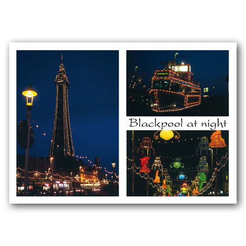 Blackpool - At night comp - Sold in pack (100 postcards)