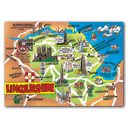 Lincolnshire Map Card - Sold in pack (100 postcards)