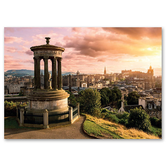 Edinburgh skyline from Calton Hill at sunset - Sold in pack (100 postcards)