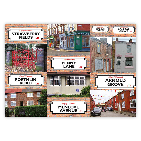 Liverpool The Beatles Locations Comp - Sold in pack (100 postcards)