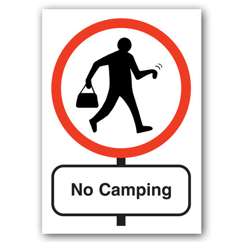 Road Signs - No Camping - Sold in pack (100 postcards)