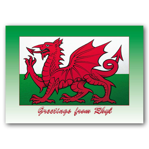 Rhyl Welsh Dragon - Sold in pack (100 postcards)