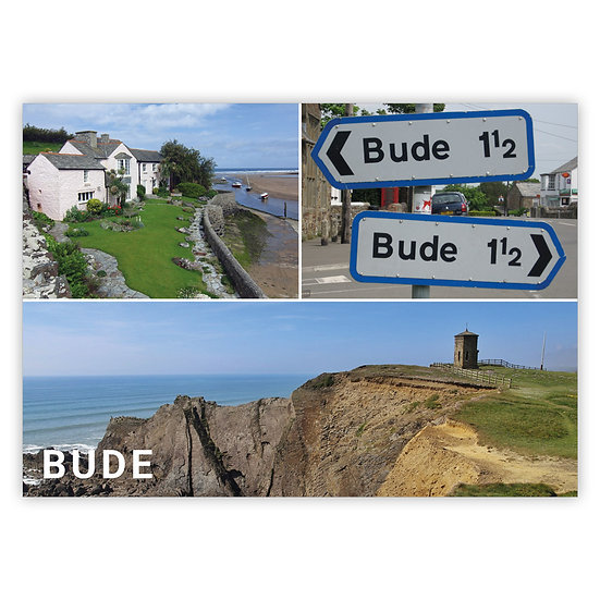 Bude 3 compsite (cliffs at bottom) - Sold in pack (100 postcards)