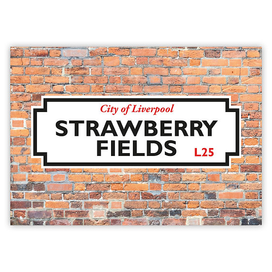 Liverpool Street Sign Strawberry Fields - Sold in pack (100 postcards)