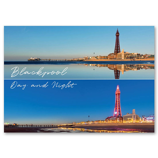Blackpool by day and night, 2 view composite - Sold in pack (100 postcards)